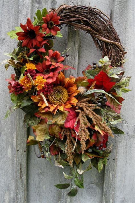 a fall wreath autumn wreath fall floral designer wreaths by newenglandwreath