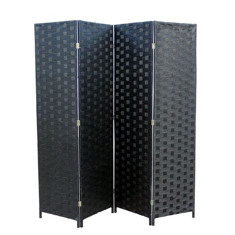 ORE International 5.9 ft. Black 4 Panel Room Divider
