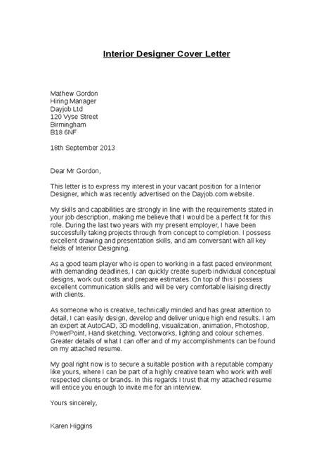Cover Letter For Designer by Cv Cover Letter For Interior Designer Writefiction581 Web