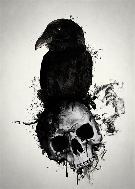 raven and skull mixed media by nicklas gustafsson
