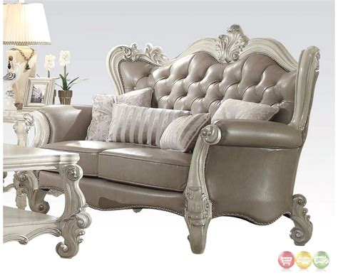 Leather Tufted Loveseat by Versailles Button Tufted Vintage Grey Sofa And Loveseat In