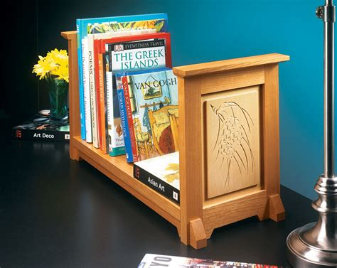 chip carved book rack woodworking project woodsmith plans