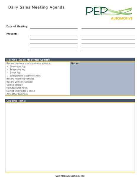 daily meeting agenda templates  allbusinesstemplatescom