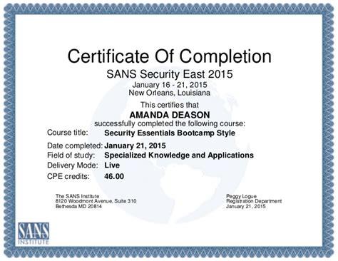 Certificate Of Completion Template Powerpoint
