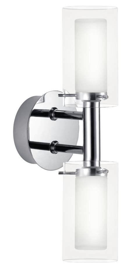 eglo twin glass and chrome bathroom wall light eglo