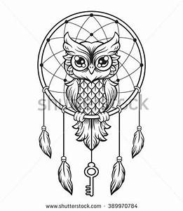Dreamcatcher Black White Owl Vector Line Stock Vector ...
