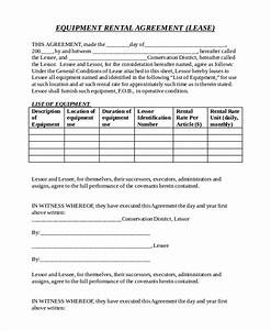 equipment rental agreement templates download free With equipment lease document