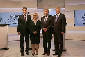 THE MACLEAN'S NATIONAL LEADERS DEBATE. (L-R) JUSTIN ...
