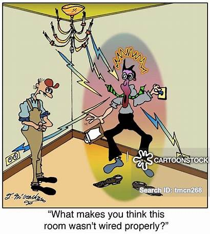 Building Shock Electric Construction Wiring Inspections Cartoon