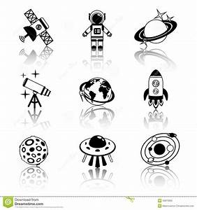 Space Icons Black And White Set Stock Vector - Image: 45873935