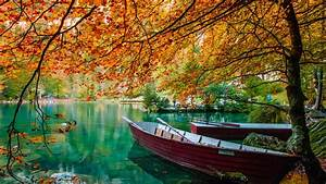 Autumn Lake Beautiful Turquoise Water Trees Hd Wallpaper