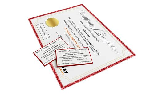 Scissor Lift Certification Card Template by Certificates And Wallet Cards Hat