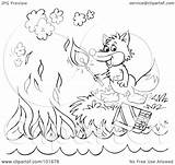 Outline Fox Coloring Match Royalty Clipart Lighting Illustration Rf Bannykh Alex Copyright Regarding Notes sketch template