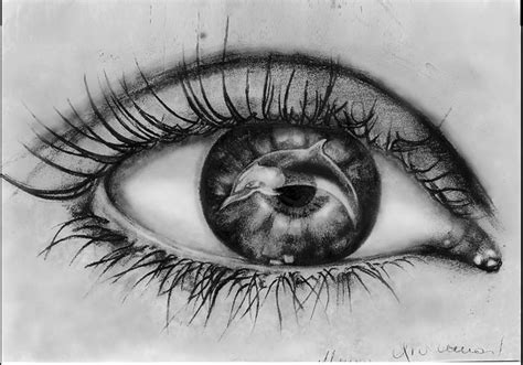 disegni a matita di ragazze tristi occhio con delfino matita su carta 20x30 cm