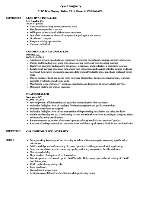 hvac installer job description for resume hvac installer sample resume traveling physical therapist