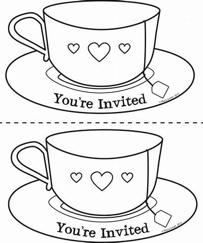Tea Cup Coloring Teacup Pages Mother Template