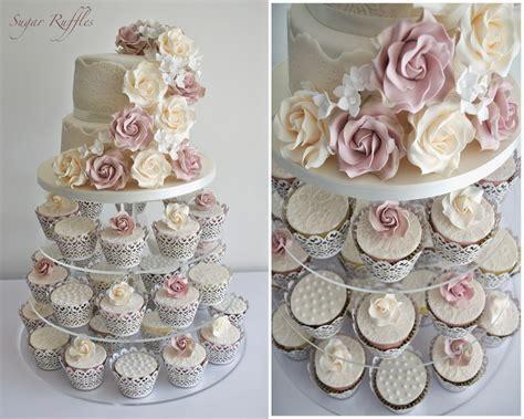 modern cake stand vintage roses lace wedding cupcake tower