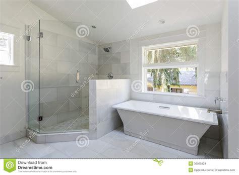 salle de bains moderne avec la et la baignoire
