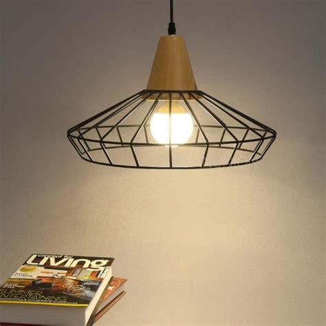 modern vintage wood metal cage chandelier ceiling pendant