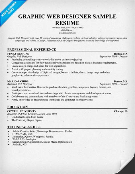 resume for graphic designers graphic web designer resume sample resumecompanion com