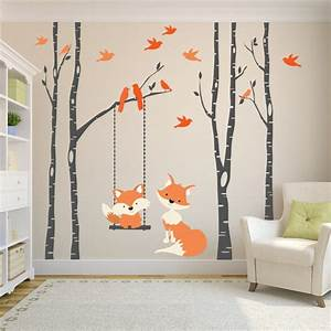 Wall decal baby fox swing trees river birch woodland forest for Best 20 white tree decal for nursery wall