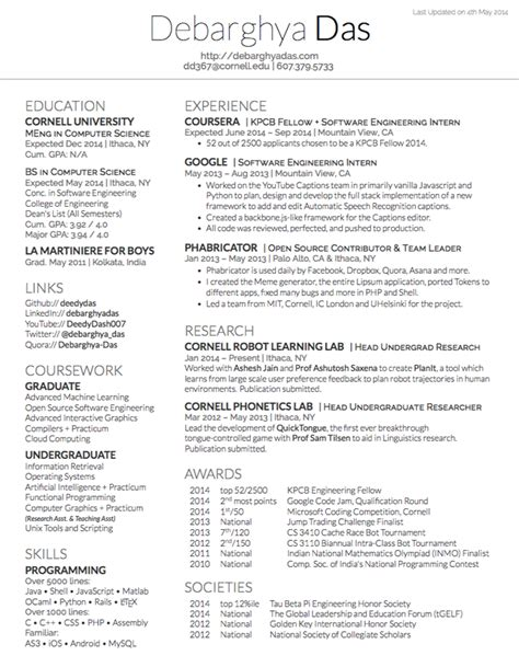 latex resume template computer science printable receipt