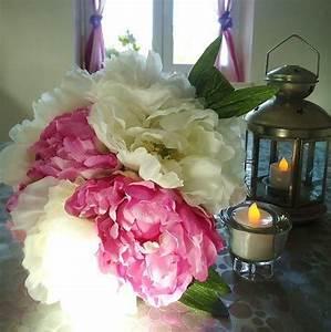Bouquet Fleur Mariage : grand bouquet pivoine rose blanc fleurs artificielles ~ Premium-room.com Idées de Décoration