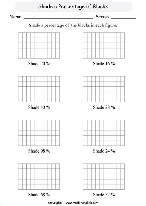 shade a given percentage out of a figure of 50 squares