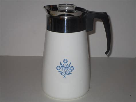 Read to find out how to use a percolator. Vintage Corning Ware Blue Cornflower Coffee Pot 9 Cup Stove Top Percolator - Percolators & Moka Pots