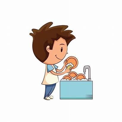 Dishes Washing Clipart Child Imagem Vetor