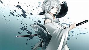 Katana anime crows anime girls swords silver hair upscaled ...
