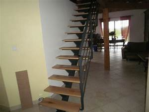 Escalier Bois Intérieur : escalier droit limon central fer et bois 2 escalier ~ Premium-room.com Idées de Décoration