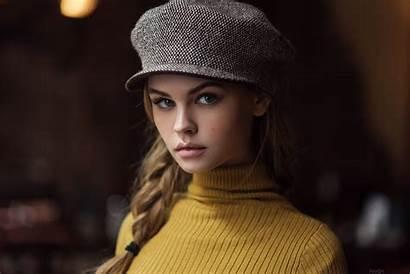 Anastasia Hat Scheglova Portrait Blonde Face Woman