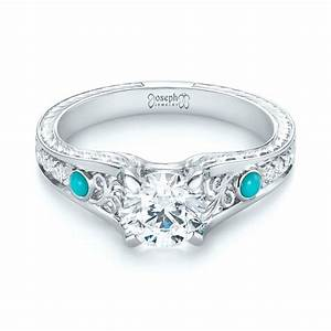 custom turquoise and diamond engagement ring 103536 With turquoise and diamond wedding ring