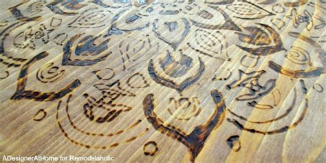 remodelaholic diy stool  wood burned design