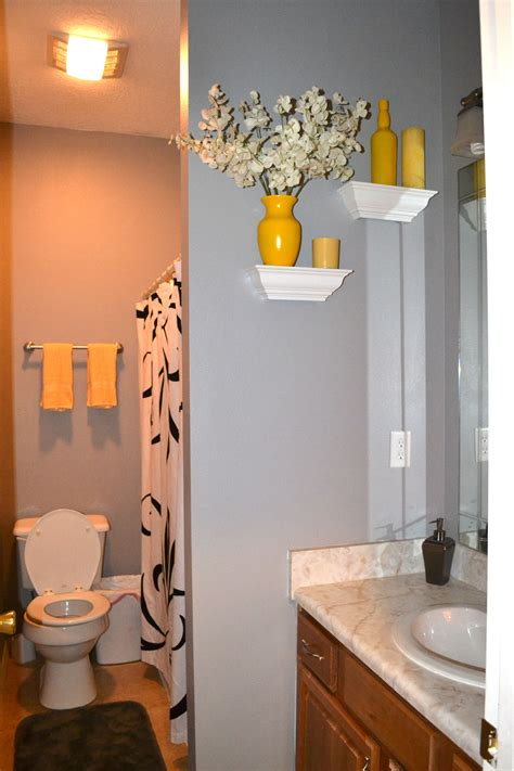 newly decorated gray  yellow bathroom shower
