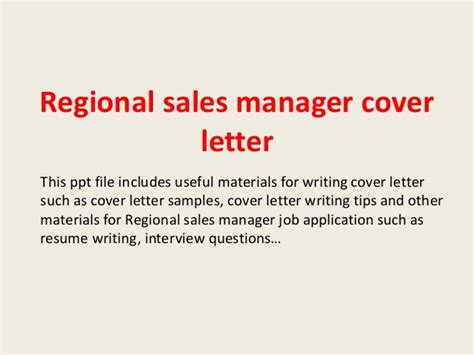 Regional Manager Cover Letter by Regional Sales Manager Cover Letter