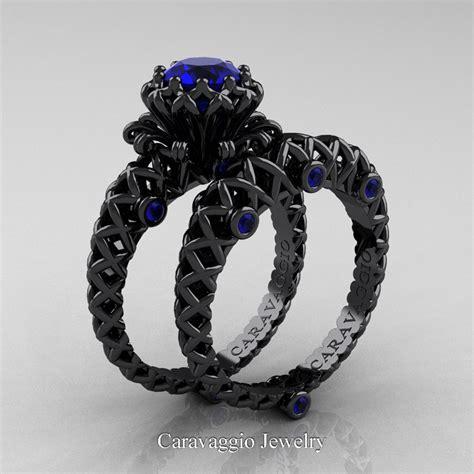 caravaggio lace  black gold  ct blue sapphire