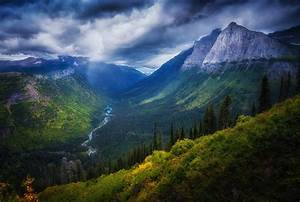 Valley, Mountain, Forest, River, Cliff, Shrubs, Clouds, Summer, Nature, Landscape, Wallpapers, Hd