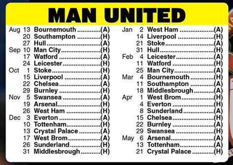 Man Utd Premier League Fixtures: Mourinho v Guardiola in