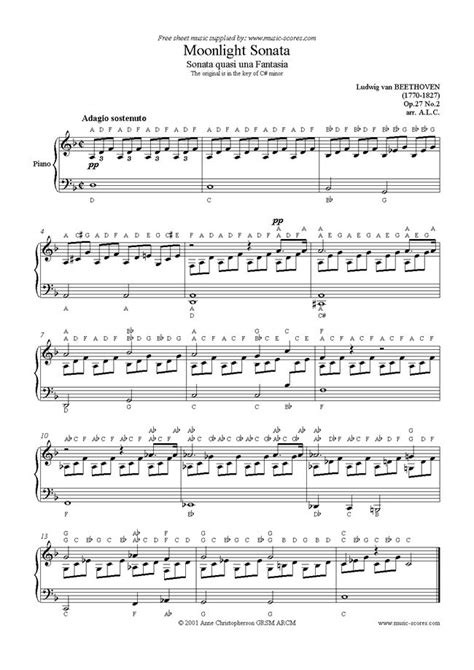 piano sheet with letters sonata 14 op 27 no2 moonlight 1st mt easy piano by 20289