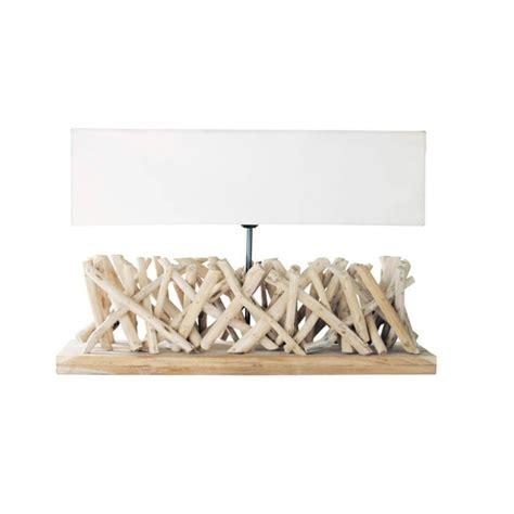 ladaire design en bois flotte l 225 mpara de madera de deriva y pantalla de tela al 16 cm fjord maisons du monde