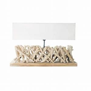 Abat Jour En Bois : lampe en bois flott et abat jour en tissu h 16 cm fjord ~ Dailycaller-alerts.com Idées de Décoration