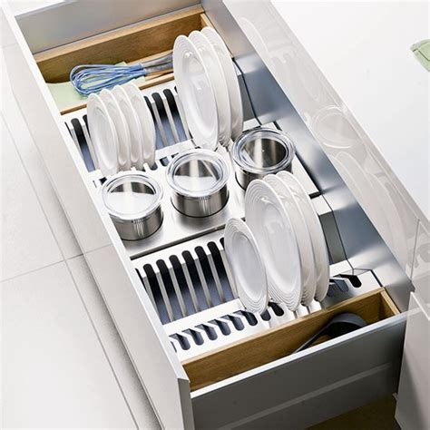 stack plates upright  deep drawers kitchen storage