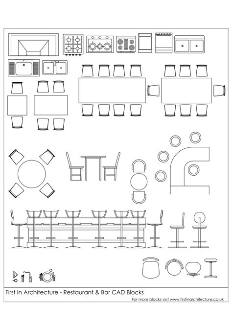 Kitchen Table Setting Ideas - free cad blocks restaurant and bar first in architecture