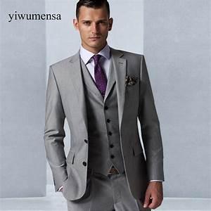 Costume 3 Pièces Gris : custom made gray men wedding dress 2018 tuxedo groom formal suit mens 3 pieces jacket vest ~ Dallasstarsshop.com Idées de Décoration