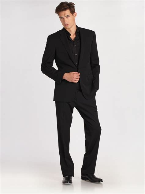 ralph lauren black label anthony two button suit in black
