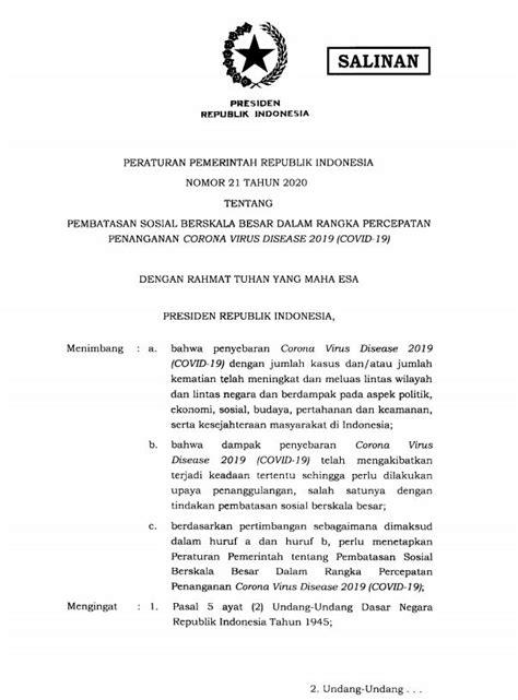 Peraturan Pemerintah Republik Indonesia Nomor 21 Tahun 2020 tentang PSBB - Regulasi   Satgas