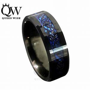 queenwish 8mm blue black silvering celtic dragon tungsten With black and blue mens wedding ring