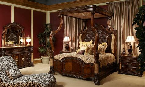 michael amini palace bedroom set w canopy bed in